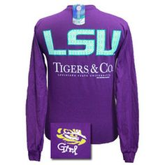 Louisiana State LSU Tigers and Co Delta Girlie Bright Long Sleeves T S | SimplyCuteTees