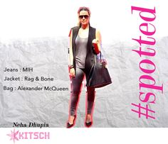 #KitschSpotted: #NehaDhupia dressed in the best.She has paired her #MiH fitted jeans with a very elegant black sleeveless #Rag&Bone jacket and finished the look with an #Alexander McQueen tote.Shop the entire look only at #Kitsch!!  @mihjeans