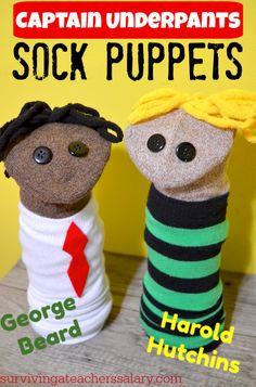 The most EPIC craft tutorial EVER! Check out these Captain Underpants Sock Puppets tutorial for kids pretend play! We got this craft kit from DreamWorks Animation to celebrate the new Netflix TV series The Epic Tales of Captain Underpants! (ad) #DWCaptainUnderpants #captainunderpants #pretendplay #kidscraft