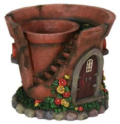 Enrich the appearance of your outdoor living area by possessing this Exhart Solar Fairy House Flower Pot. Made of durable resin. Broken Pot Garden, Fairy Garden Pots, Fairy Garden Furniture, Fairy Garden Houses, Shade Garden, Fairy Gardening, Solar Fairy House, Flower Pot Design, Pot Jardin
