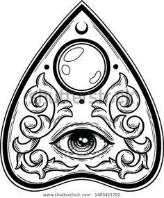 Ouija Tattoo, Flash Art Tattoos, Dark Art Tattoo, Gothic Tattoo, Tattoo Drawings, Art Drawings, Sketchbook Drawings, Halloween Tattoo Flash, Satanic Art