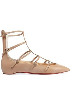 Christian Louboutin - Toerless Muse Buckled Leather Point-toe Flats - Beige - IT36.5