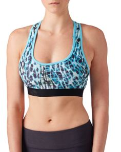 Power Sports Bra- Gato with Turquoise Trim | PRISMSPORT | Fashionable Yoga Tops, Pants & Athletic Apparel