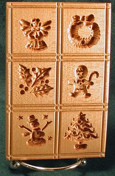 Hand-carved Picture Cookie Molds - Heirloom Springerle Multiples with 2, 4, 6, or 12 designs per board.