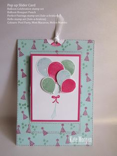 """Balloon Celebration, Balloon Bouquet punch, Hello, Perfect Pairings, Whisper White 3/8"""" Stitshed Satin Ribbon (closed) - Pop Up Slider card"""