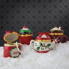 Porcelain Opening Ornament~Hot cocoa, cupcake, teapot, cookie jar. ^___^