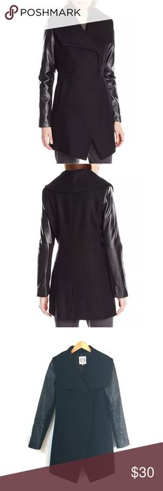 Dawn Levy wool coat 70% wool 20% nylon 10% cashmere. Vegan leather sleeves. I'm moving and don't want to bring it with me. dawn levy Jackets & Coats Trench Coats