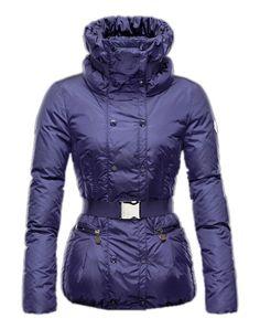 Moncler Phalene Womens Jackets Collar Decorative Belt Blue Online