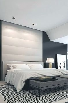 24 Modern Master Bedroom Interior Design - Home Interior Design Ideas Modern Minimalist Bedroom, Modern Bedroom Design, Contemporary Bedroom, Bedroom Designs, Minimalist Living, Modern Contemporary, Modern Bedrooms, Modern Luxury, Monochrome Bedroom