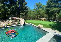 Here is a Great Looking project by Alder Group, Pool & Landscape Co. featuring a Paradise Slides #PoolSlide Model PS38L-S in CLAY. Just Stunning! #ResidentialWaterSlide #WaterSlide #WhatsInYourBackYard! Water Slides, Pool Slides, Your Back, Can Design, Pool Landscaping, Yard, Patio, Yards, Courtyards
