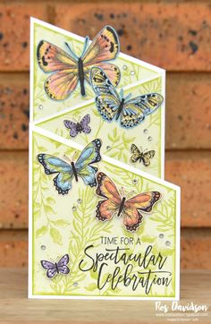 stampin up butterfly duet Tri Fold Cards, Fancy Fold Cards, Folded Cards, Cute Birthday Cards, Handmade Birthday Cards, Butterfly Cards Handmade, Butterfly Birthday Cards, Shaped Cards, Card Tutorials