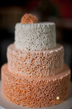 Rustic peach ombre cake by Alison Lawson Cakes