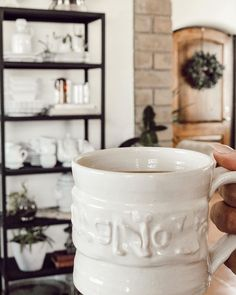 """Arlyn LeBaron on Instagram: """"Wishing I was @magnolia enjoying a cup of coffee while browsing. For now, we will enjoy this corner of my home with a magnolia coffee cup.…"""" Magnolia, Coffee Cups, Corner, Mugs, Tableware, Instagram, Coffee Mugs, Dinnerware, Cups"""