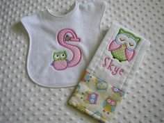 Baby Girl 2 Piece Gift Set Personalized by embroideredtreasures, $15.00
