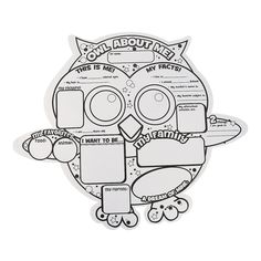 """Color Your Own """"Owl About Me"""" Posters - OrientalTrading.com"""