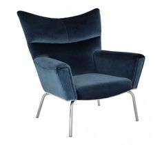 Novara Blue Velvet Chair with stainless steel legs and beautiful blue velvet upholstery. Blue Velvet Chairs, Blue Chairs, Sofas, Armchairs, Velvet Armchair, Upholstery, Interior, Curves, Minimal