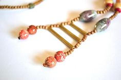 Ceramic Necklace Natural Wood Necklace Brass Necklace Boho