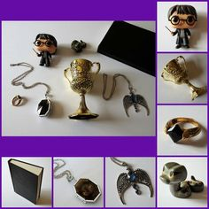 Harry Potter Activity (Scavenger - Horcrux Hunt) -- ITEMS: Funko POP Movies - Harry Potter, Funko Mini Mystery – Nagini, Harry Potter Locket Horcrux Kit and Sticker Book, Deathly Hallows Magic Ring, Noble Collection - Hufflepuff Cup, Ravenclaw Lost Diadem Tiara Crown Pendant Necklace (all Amazon); and Tom Riddle's Diary (previous craft)