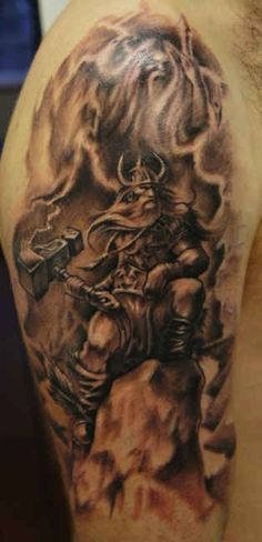 Scandinavian gods Thor and Odin - http://tattootodesign.com/scandinavian-gods-thor-and-odin/ | #Tattoo, #Tattooed, #Tattoos