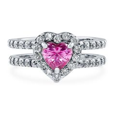 Berricle Sterling Silver Heart Shaped Pink Cz Halo Engagement Ring 1.89 Carat