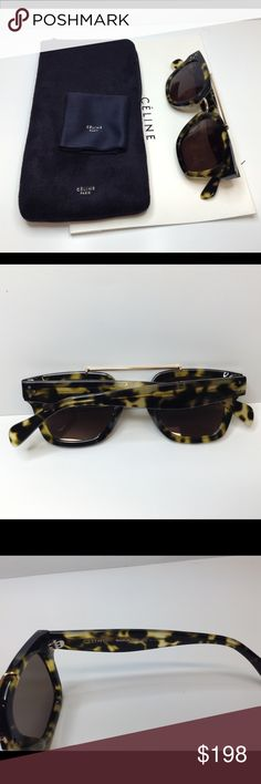 Celine CL 41077 green honey Havana sunglasses Beautiful Celine green honey Havana cl 41077 sunglasses.My husband Originally bought from saks in Beverly Hills . receipts was lost . Brand new  .i have couple similar styles sunglasses so decided to past to someone who need it . Come with original package. Perfect conditions, no scratches . Try to took some keys pictures to show you they are 100% authentic with no questions. No trade . No modeling (I want to keep in brand new conditions)thank…