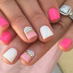 Girly Pink Nail Design with Rhinestones
