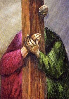 Ayudame Señor a cargar mi cruz con mas amor, con mas paciencia    Jesus and Simon the Cyrene, Sieger Koder