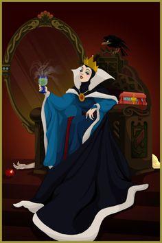 Rainha Má, a mais bela, com o coração da Branca de Neve que está morta atrás