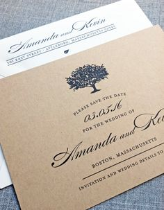 Amanda Charcoal Tree Recycled Kraft Wedding by CricketPrinting, $3.00