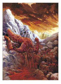 Those created by the pure waters of Hvergelmir were good and those created by the poisoned waters of Elivagar were evil.  Good and evil inevitably fought and Ymir died, which led to the creation of the world.