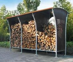 Abri range b ches mural en bois 6 st res 280x110x208cm - Idees de range buche portes panier abris bois de chauffage ...