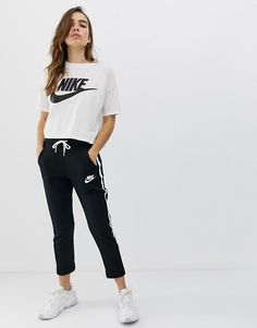 Order Nike Exclusive Black Polyknit Track Pants online today at ASOS for fast delivery, multiple payment options and hassle-free returns (Ts&Cs apply). Get the latest trends with ASOS. Tomboy Fashion, Teen Fashion Outfits, Fashion Pants, Jogger Pants Outfit, Cute Sweatpants Outfit, Nike Pants, Nike Outfits, Sport Outfits, Asos