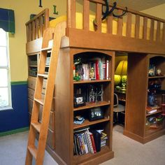 Cool loft bed with a hideout desk underneath :)
