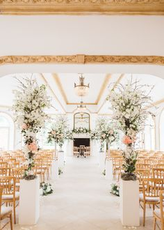 Aisle Style | Elegant Pastel Wedding Northbrook Park Rose & Peony Floral Arrangements & Bride In Illusion Lace Dress By Pronovias & Images From Hollie Carlin Photography
