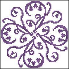 Filet Crochet... Biscornu Cross Stitch, Cross Stitch Borders, Cross Stitch Flowers, Cross Stitching, Cross Stitch Embroidery, Cross Stitch Patterns, Filet Crochet Charts, Knitting Charts, Pixel Crochet