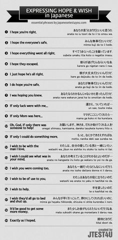 Educational infographic & data visualisation Infographic: How to Express Hope and Wish in Japanese Infographic Description Infographic: how to express Learn Japanese Words, Study Japanese, Japanese Culture, Japanese Quotes, Japanese Phrases, Japanese Sentences, Japanese Symbol, Japanese Kanji, Japanese Language Learning