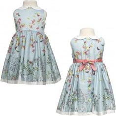 ポピー'13春夏コレクションより♪ ベビー&女の子用の蝶々プリント襟&リボン付きブルー・ワンピース☆