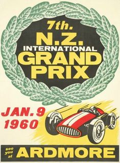 Vintage NZ Car Racing Poster | Ardmore Grand Prix