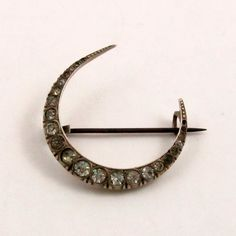 Antique Victorian Crescent Moon Paste Brooch Sterling Silver Vintage by mybooms on Etsy
