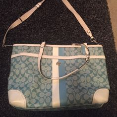 """Coach Diaper Bag Coach Diaper Bag - with old """"C"""" logo - great condition, only stain and discoloration is shown in third picture (on the bottom of the bag) - inside is perfect, never used as a diaper bag, previously used as a tote- has shoulder straps and Crossbody- there is also a top zipper if you prefer to zip the bag closed! Coach Bags Travel Bags"""