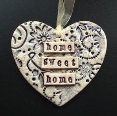 purple ceramic heart decoration - Folksy