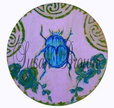 vinyl purple green with beetle by femmehesse on Etsy, $22.50
