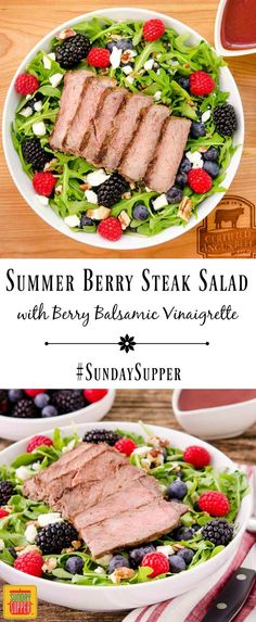 Summer Berry Steak Salad with homemade Berry Balsamic Vinaigrette has fresh berries, feta cheese, and pecans. Use leftover grilled steak for a speedy weeknight meal. #SundaySupper #WeekdaySupper