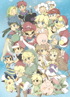 Super Smash Bros Anime style, guys, I'm squeezed here Super Smash Bros Brawl, Nintendo Super Smash Bros, Super Mario Bros, Nintendo Characters, Video Game Characters, Pokemon, Fanart, Video Game Art, Video Games