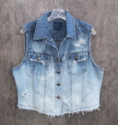 * I should do this to my denim vest!  BLUE DENIM VEST ombre upcycled time worn deconstructed dip dyed bleached distressed indigo blue jean