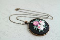 Roses Silk Ribbon Embroidery Round Pendant by ShabbySugarplum