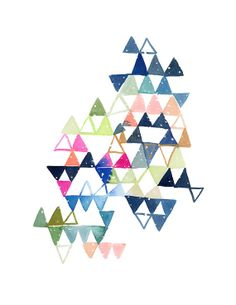 Yao Cheng Design - Constellation Triangles in Blue, Magenta and Green Art Print