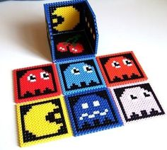 found this image for a coaster idea: use hamma beads to create designs on square peg board. then place wax paper on top and carefully iron