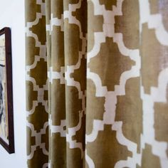 """Curtains, window curtain panels, Window Treatment decor housewares geometric Hand Printed - 44""""w x 84""""h - 1 Block Printed Taupe CHAIN LINK on Etsy, $57.00"""