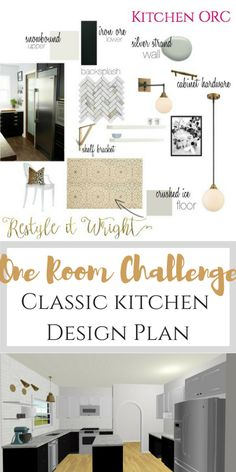 one room challenge kitchen mood board with stencil floor, white concrete countertops, and black and white cabinets and a marble herringbone backsplash